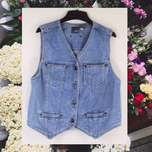 Vintage 90s LizWear Denim Jean Vest Button Up L